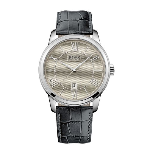 BOSS Men's Stainless Steel Classic Grey Strap Watch - Product number 9626352