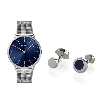 BOSS Men's Stainless Steel Watch and Blue Cufflinks Set - Product number 9626514