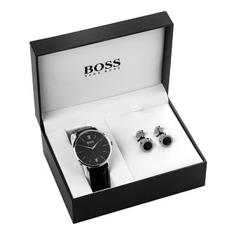 Hugo Boss Gen 4 Men's Black Cufflink & Watch Gift Set - Product number 9626522