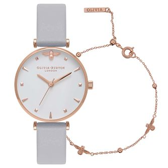Olivia Burton Strap Watch & Rose Gold Tone Bracelet Set - Product number 9626603
