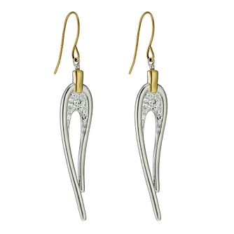 Evoke Sterling Silver & Gold Plated Crystal Drop Earrings - Product number 9628177