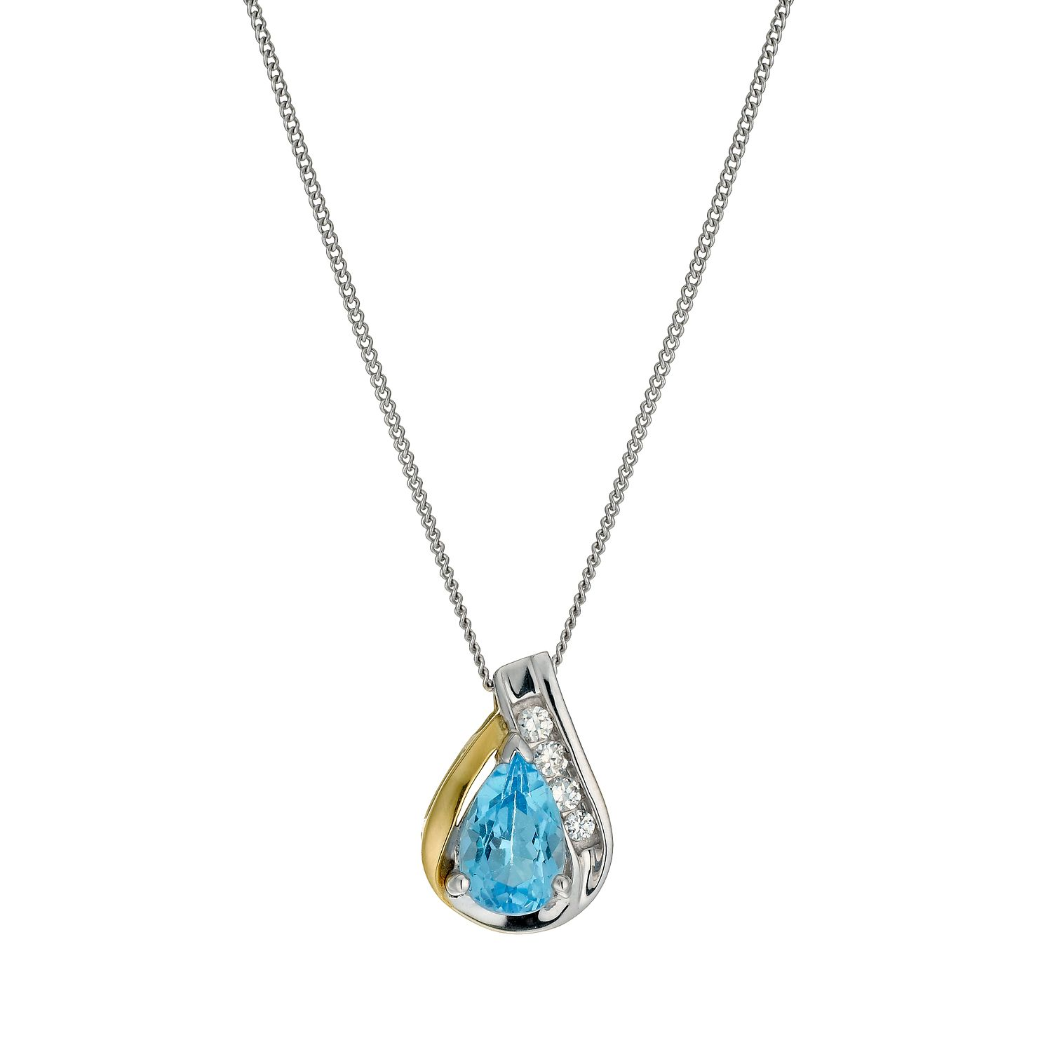 Sterling Silver & 9ct Gold Blue Topaz Pear Pendant 18 inches - Product number 9629637