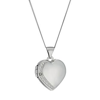 9ct White Gold Diamond Set Heart Locket 18 inches - Product number 9629920