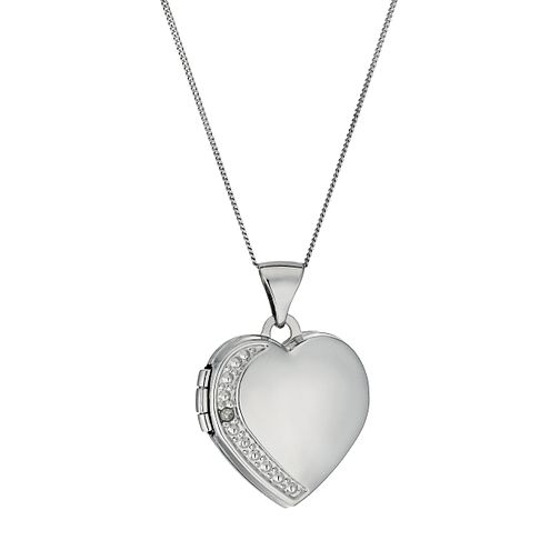 "9ct White Gold Diamond Set Heart Locket 18"" - Product number 9629920"