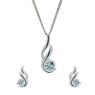 2d89946bae5f6 Sterling Silver Cubic Zirconia Earrings & Pendant Set