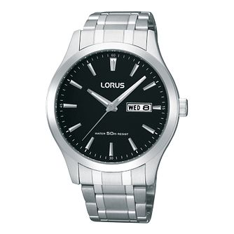 Lorus Men's Black Dial Stainless Steel Bracelet Watch - Product number 9635173