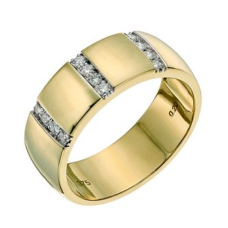 9ct yellow gold 7mm diamond wedding ring - Product number 9641246