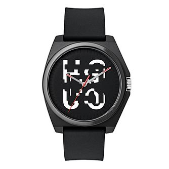 HUGO Black & White Dial Black Silicone Strap Watch - Product number 9646922