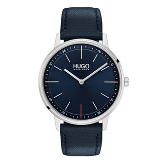 HUGO Exist Men's Blue Leather Strap Watch - Product number 9646930