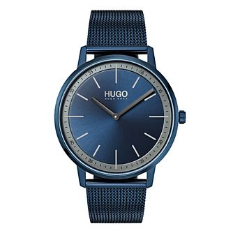 HUGO Exist Men's Blue IP Stainless Steel Mesh Bracelet Watch - Product number 9647325