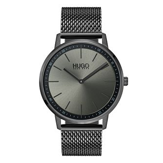 HUGO EXIST Men's Grey IP Stainless Steel Mesh Bracelet Watch - Product number 9647333