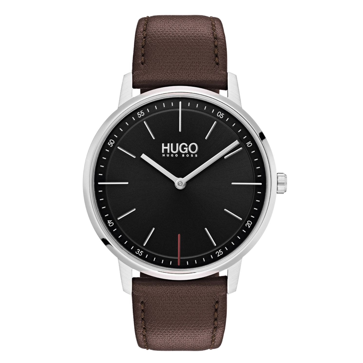 HUGO Exist Men's Brown Leather Strap Watch - Product number 9647376
