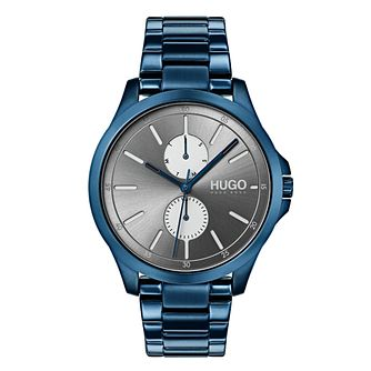 Hugo Jump Men's Blue IP Stainless Steel Bracelet Watch - Product number 9647473