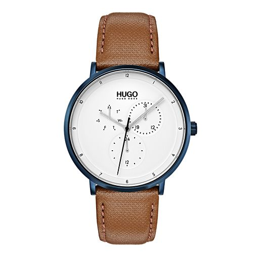 Hugo Brown Leather White Dial Strap Watch - Product number 9647481