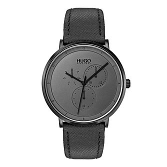 HUGO GUIDE Men's Black Leather Strap Watch - Product number 9647503