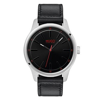 HUGO DARE Men's Black Leather Strap Watch - Product number 9647597