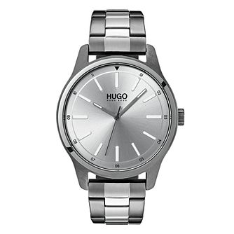 HUGO DARE Men's Grey IP Stainless Steel Bracelet Watch - Product number 9647619