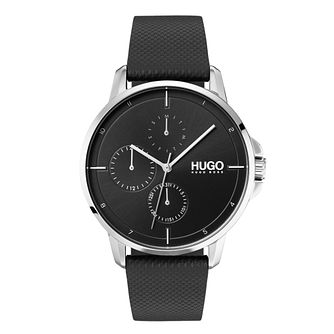 Hugo Focus Men's Black Leather Strap Watch - Product number 9647627