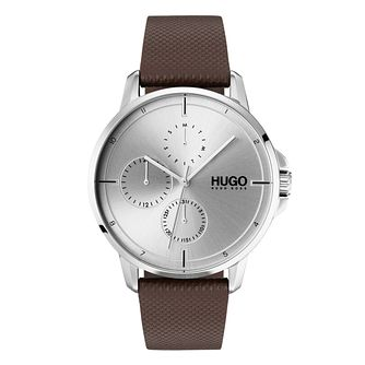 HUGO Focus Men's Brown Leather Strap Watch - Product number 9647635