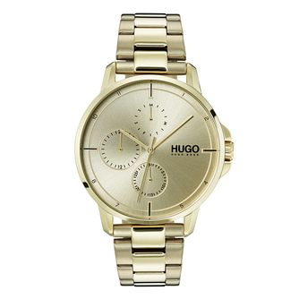HUGO Focus Men's Gold IP Stainless Steel Bracelet Watch - Product number 9647643