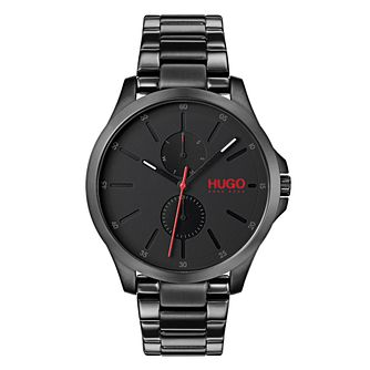 HUGO Jump Men's Black IP Stainless Steel Bracelet Watch - Product number 9647678