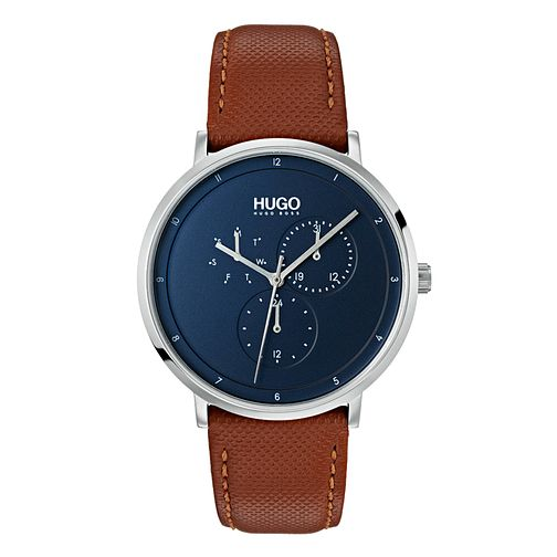 Hugo Guide Men's Brown Leather Strap Watch - Product number 9647694