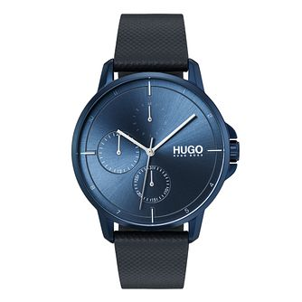 HUGO FOCUS Men's Blue Leather Strap Watch - Product number 9647708