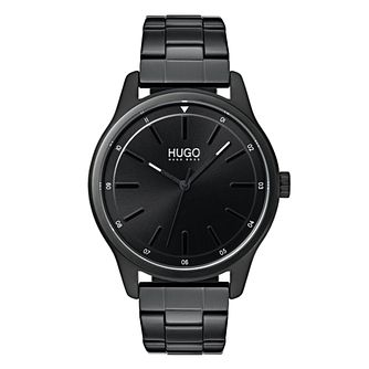 Hugo Dare Men's Black IP Stainless Steel Bracelet Watch - Product number 9647848