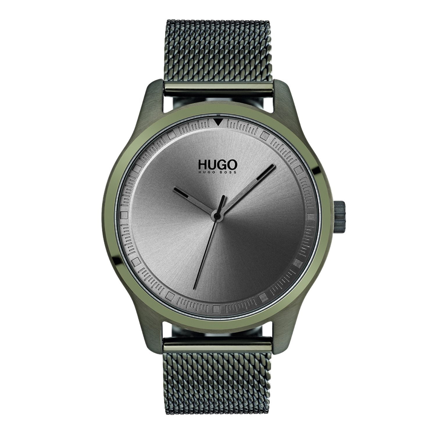HUGO MOVE Men's Olive IP Stainless Steel Mesh Bracelet Watch - Product number 9647872