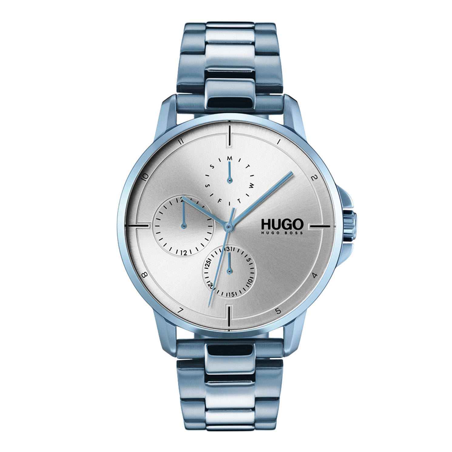 HUGO FOCUS Men's Ice Blue IP Stainless Steel Bracelet Watch - Product number 9647910