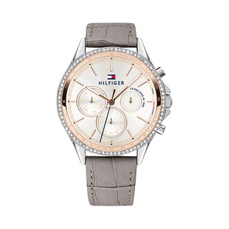 Tommy Hilfiger Ladies' Grey Leather Silver Dial Watch - Product number 9650008