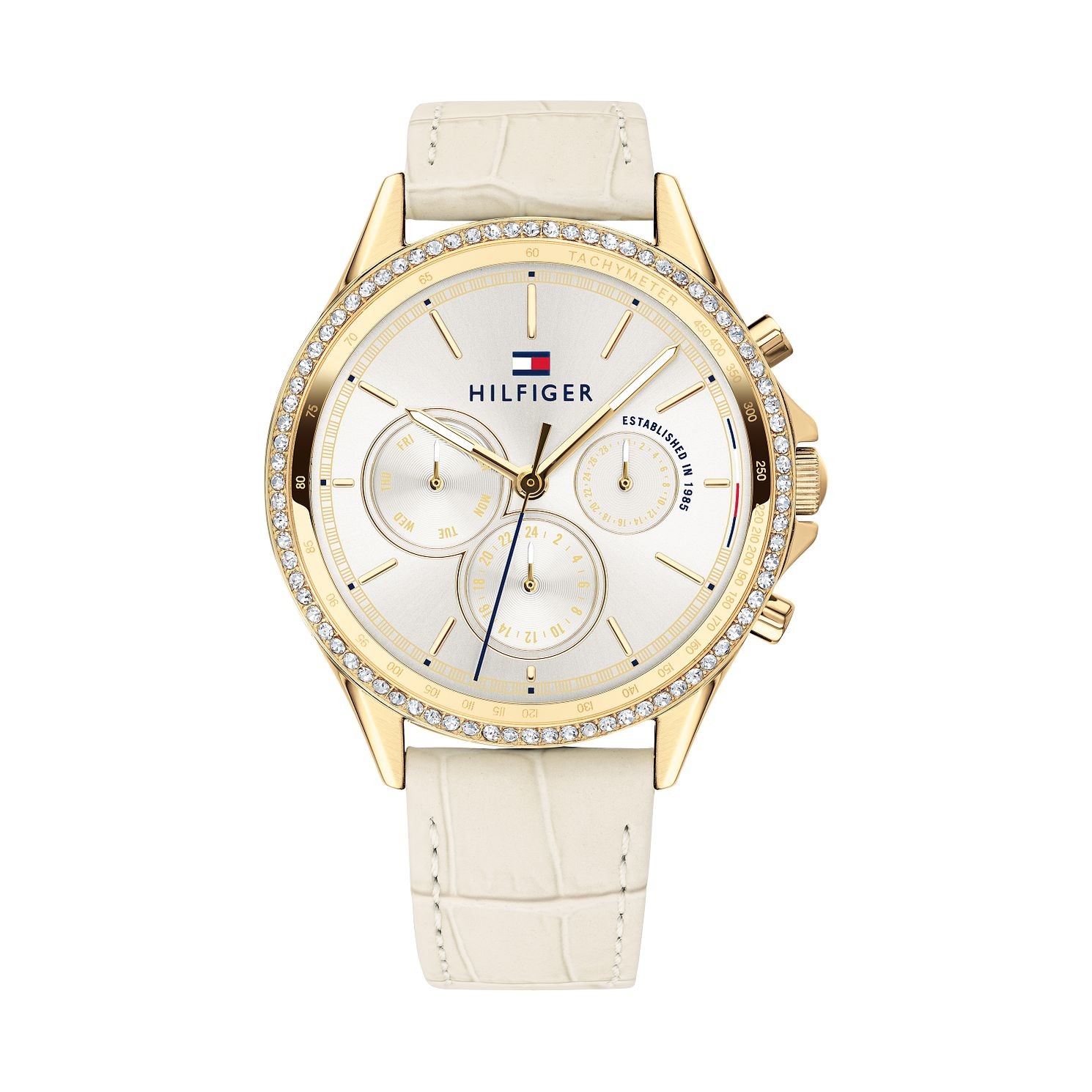 Tommy Hilfiger Ladies' Silver Dial Cream Strap Watch - Product number 9650024