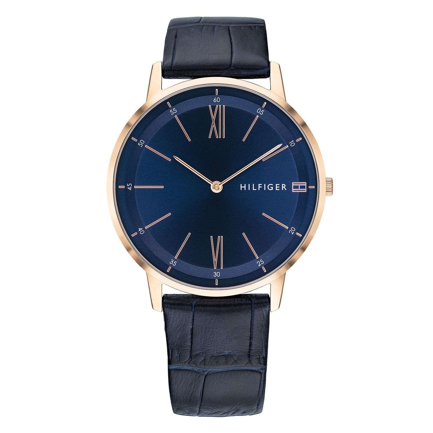 Tommy Hilfiger Men's Blue Leather Strap Watch - Product number 9650091