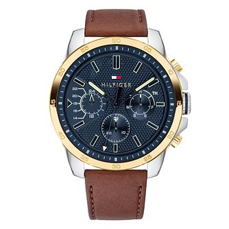 Tommy Hilfiger Men's Brown Leather Strap Watch - Product number 9650199