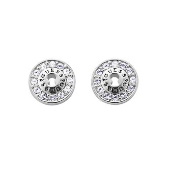 Guess Silver Tone Crystal Round Padlock Stud Earrings - Product number 9654011