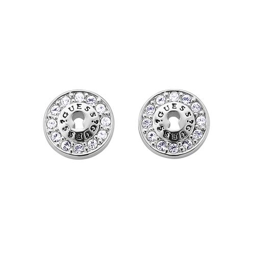 Guess Rhodium Plated Padlock Stone Set Stud Earrings - Product number 9654011