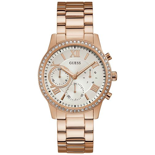 Guess Ladies' Crystal Rose Gold Plated Bracelet Watch - Product number 9654127
