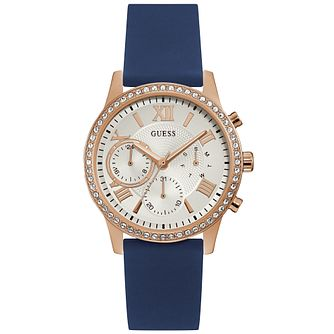 Guess Ladies' Crystal Blue Silicone Strap Watch - Product number 9654135