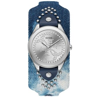 Guess Ladies' Blue Acid Denim Studded Cuff Silver Watch - Product number 9654151