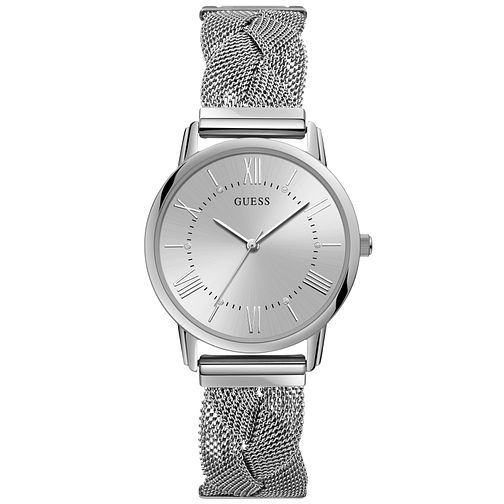 Guess Ladies' Silver Braided Mesh Bracelet Watch - Product number 9654208