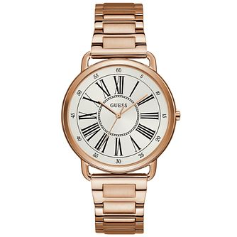 Guess Ladies' White Roman Numeral Dial Rose Gold Watch - Product number 9654771