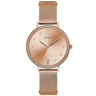 Guess Ladies' Mesh Bracelet Rose Gold Watch - Product number 9654917