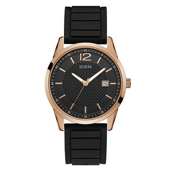 Guess Men's Black Date Dial & Strap Rose Gold Watch - Product number 9655220