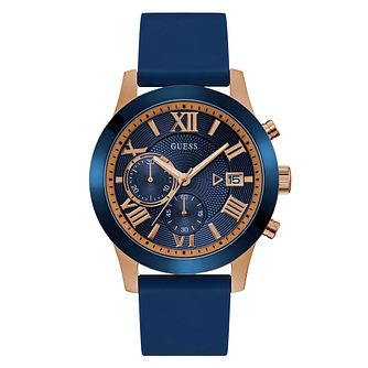 Guess Men's Blue Dial and Strap Rose Gold Watch - Product number 9655239