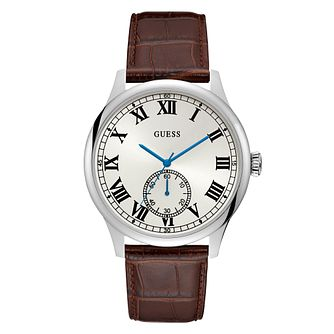 Guess Men's White Dial Leather Strap Silver Watch - Product number 9655247