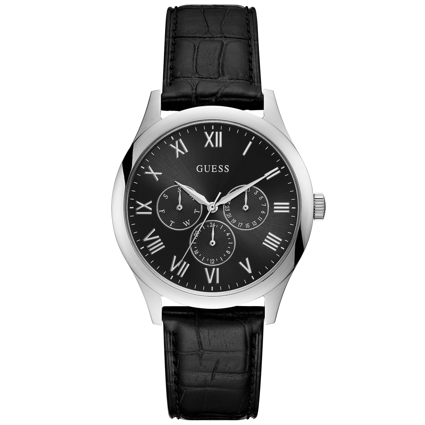 Guess Men's Black Dial Silver Watch - Product number 9655328