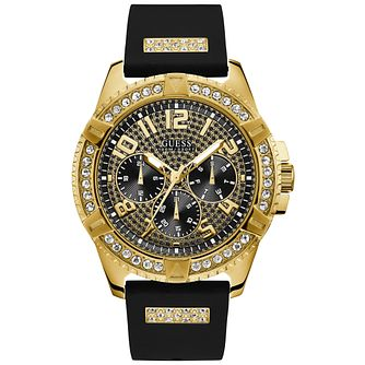 Guess Men's Black Crystal Dial & Strap Gold Watch - Product number 9655395