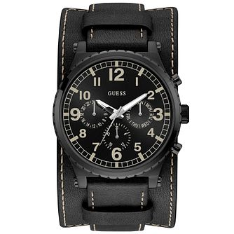 Guess Men's Black Leather Strap & Cuff Black Watch - Product number 9656367