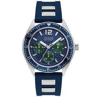 Guess Men's Blue Trim Dial and Strap Silver Watch - Product number 9656375