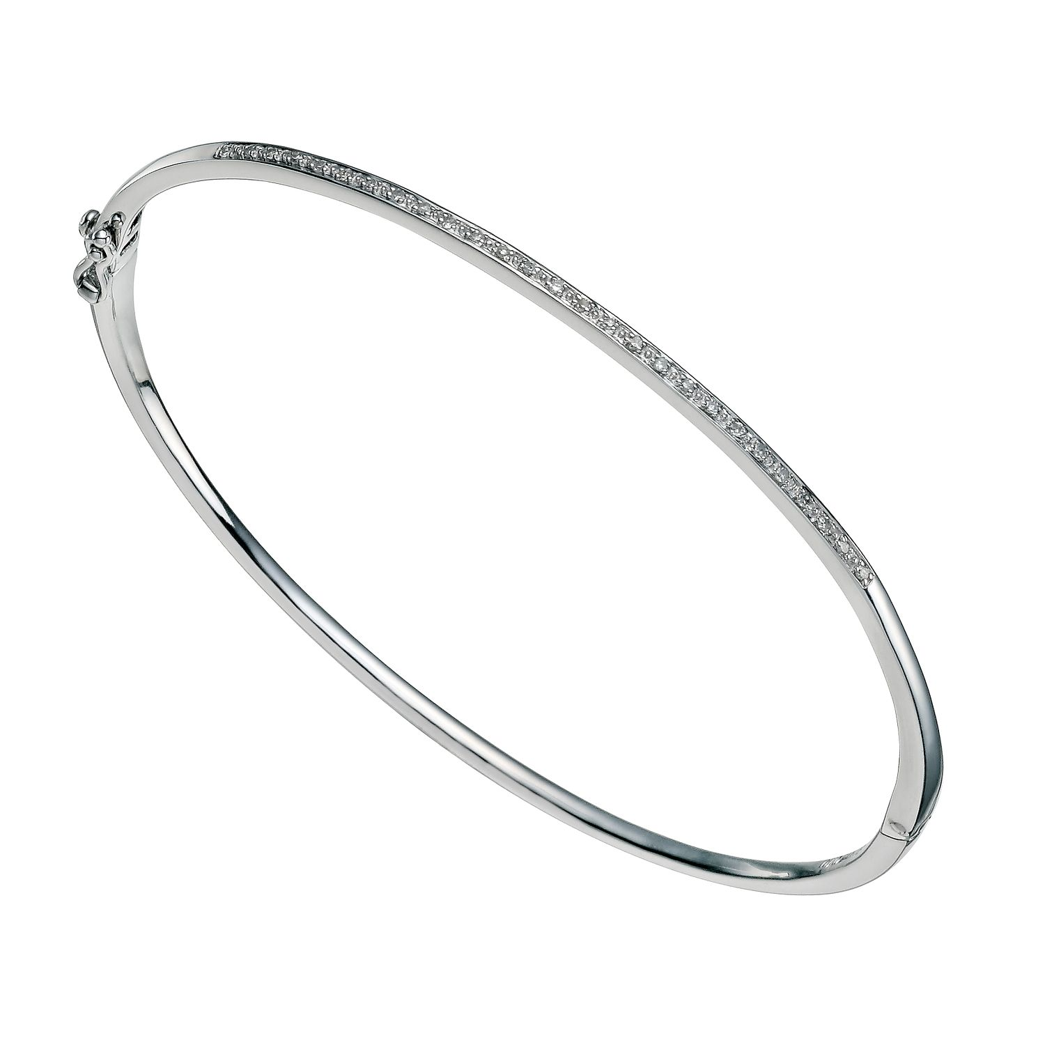 Sterling Silver 0.10ct Diamond Set Bangle - Product number 9656464